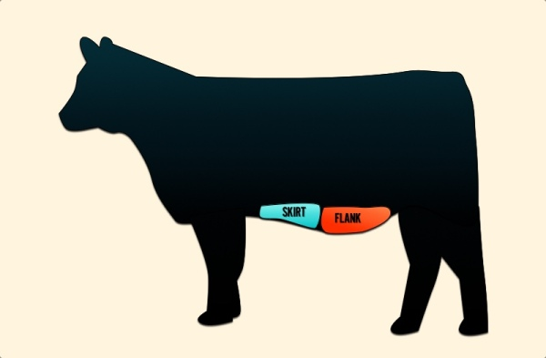Cuts of Beef on a Cow